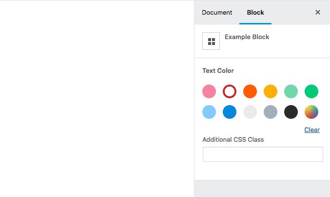 gutenberg blocks color palette